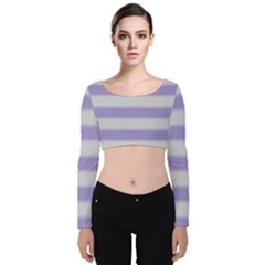 Bold Stripes Soft Purple Pattern Velvet Long Sleeve Crop Top by BrightVibesDesign