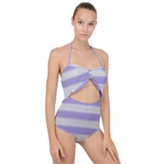 Bold Stripes Soft Purple Pattern Scallop Top Cut Out Swimsuit