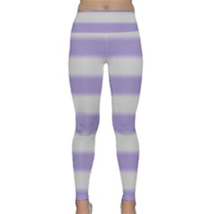 Bold Stripes Soft Purple Pattern Lightweight Velour Classic Yoga Leggings by BrightVibesDesign