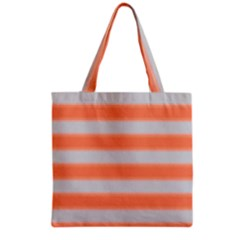 Bold Stripes Orange Pattern Grocery Tote Bag by BrightVibesDesign