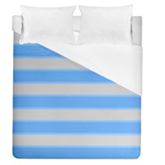 Bold Stripes Bright Blue Pattern Duvet Cover (queen Size) by BrightVibesDesign