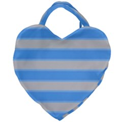 Bold Stripes Bright Blue Pattern Giant Heart Shaped Tote