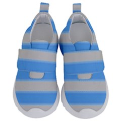 Bold Stripes Bright Blue Pattern Velcro Strap Shoes by BrightVibesDesign