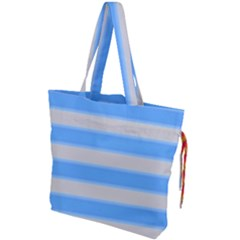 Bold Stripes Bright Blue Pattern Drawstring Tote Bag by BrightVibesDesign
