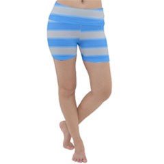 Bold Stripes Bright Blue Pattern Lightweight Velour Yoga Shorts by BrightVibesDesign