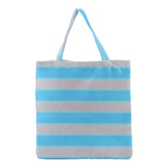 Bold Stripes Turquoise Pattern Grocery Tote Bag by BrightVibesDesign