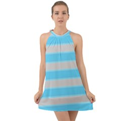 Bold Stripes Turquoise Pattern Halter Tie Back Chiffon Dress