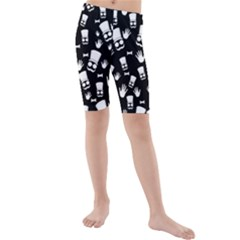 Gentleman Pattern Kids  Mid Length Swim Shorts