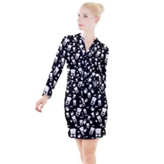 Gentleman Pattern Button Long Sleeve Dress