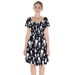 Gentleman Pattern Short Sleeve Bardot Dress