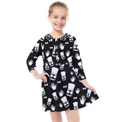 Gentleman Pattern Kids  Quarter Sleeve Shirt Dress