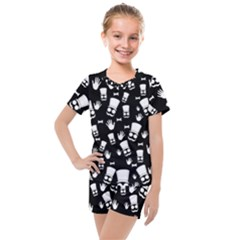 Gentleman Pattern Kids  Mesh Tee And Shorts Set