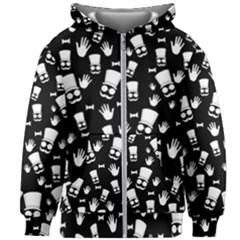 Gentleman Pattern Kids Zipper Hoodie Without Drawstring