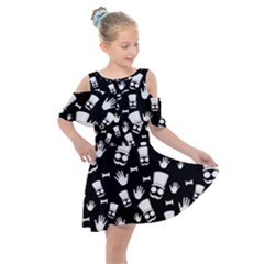 Gentleman Pattern Kids  Shoulder Cutout Chiffon Dress