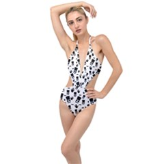Gentleman Pattern Plunging Cut Out Swimsuit
