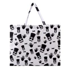 Gentleman Pattern Zipper Large Tote Bag