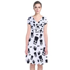 Gentleman Pattern Short Sleeve Front Wrap Dress