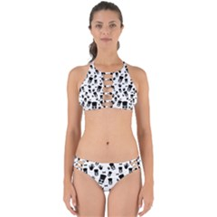 Gentleman Pattern Perfectly Cut Out Bikini Set