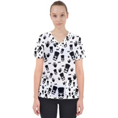 Gentleman Pattern Women s V Neck Scrub Top