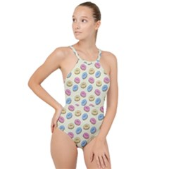 Donuts Pattern High Neck One Piece Swimsuit