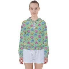 Donuts Pattern Women s Tie Up Sweat by Valentinaart