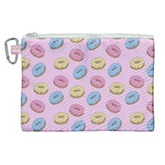 Donuts Pattern Canvas Cosmetic Bag (xl) by Valentinaart