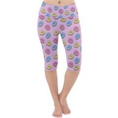 Donuts Pattern Lightweight Velour Cropped Yoga Leggings by Valentinaart