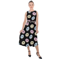 Donuts Pattern Midi Tie Back Chiffon Dress