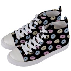 Donuts Pattern Women s Mid Top Canvas Sneakers by Valentinaart