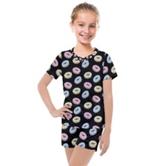 Donuts Pattern Kids  Mesh Tee And Shorts Set by Valentinaart