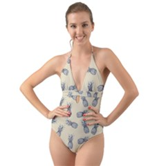 Pineapple Pattern Halter Cut Out One Piece Swimsuit
