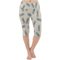 Pineapple Pattern Lightweight Velour Cropped Yoga Leggings by Valentinaart