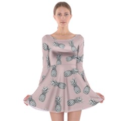 Pineapple Pattern Long Sleeve Skater Dress