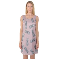 Pineapple Pattern Sleeveless Satin Nightdress