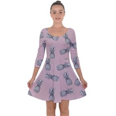Pineapple Pattern Quarter Sleeve Skater Dress