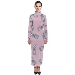 Pineapple Pattern Turtleneck Maxi Dress