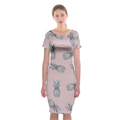 Pineapple Pattern Classic Short Sleeve Midi Dress by Valentinaart
