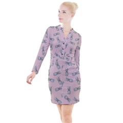 Pineapple Pattern Button Long Sleeve Dress