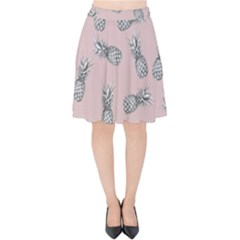 Pineapple Pattern Velvet High Waist Skirt