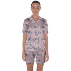 Pineapple Pattern Satin Short Sleeve Pyjamas Set
