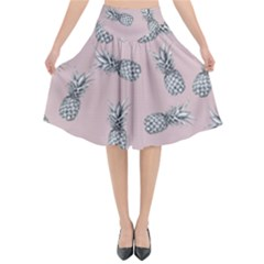 Pineapple Pattern Flared Midi Skirt