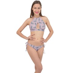 Pineapple Pattern Cross Front Halter Bikini Set