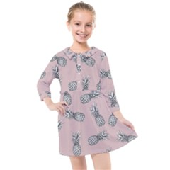 Pineapple Pattern Kids  Quarter Sleeve Shirt Dress