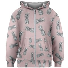 Pineapple Pattern Kids Zipper Hoodie Without Drawstring