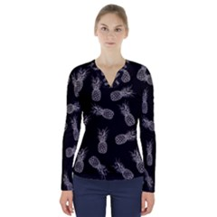 Pineapple Pattern V Neck Long Sleeve Top