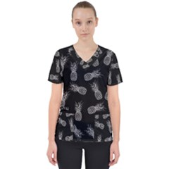 Pineapple Pattern Women s V Neck Scrub Top