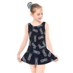 Pineapple Pattern Kids  Skater Dress Swimsuit