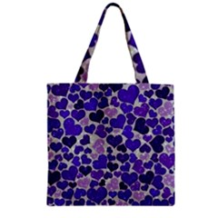 Sparkling Hearts Blue Zipper Grocery Tote Bag by MoreColorsinLife