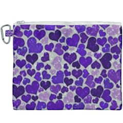 Sparkling Hearts Blue Canvas Cosmetic Bag (xxxl)