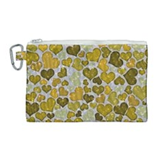 Sparkling Hearts Golden Canvas Cosmetic Bag (large) by MoreColorsinLife